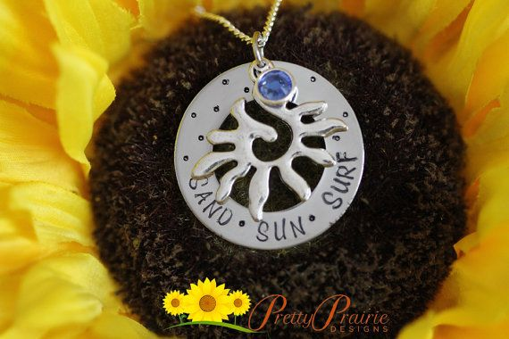 PERSONALIZED SAND SUN SURF NECKLACE DESCRIPTION: Custom handmade necklace with sun charm and Swarovski birthstone crystal.  #sunsurfnecklace #sunnecklace #birthstonenecklace #charmnecklace