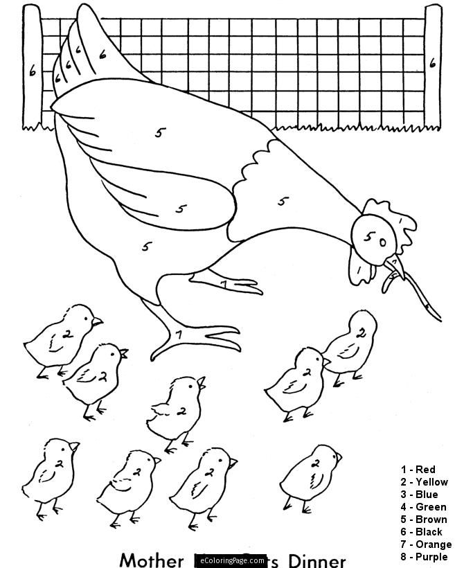 Color By Number Mother Hen And Chicks Coloring Page For Kids
