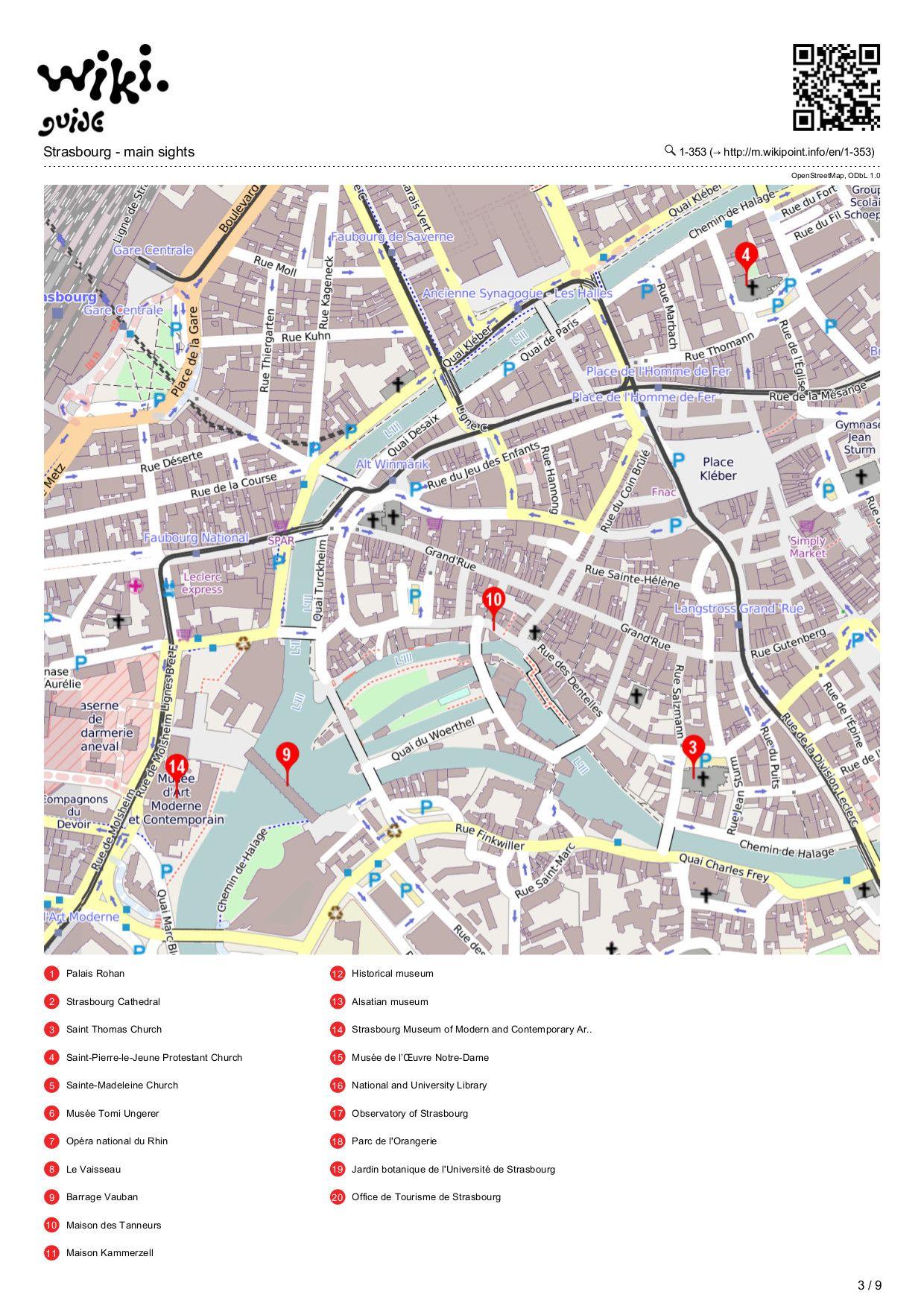 Map of Strasbourg Strasbourg May2015 visit Pinterest Strasbourg