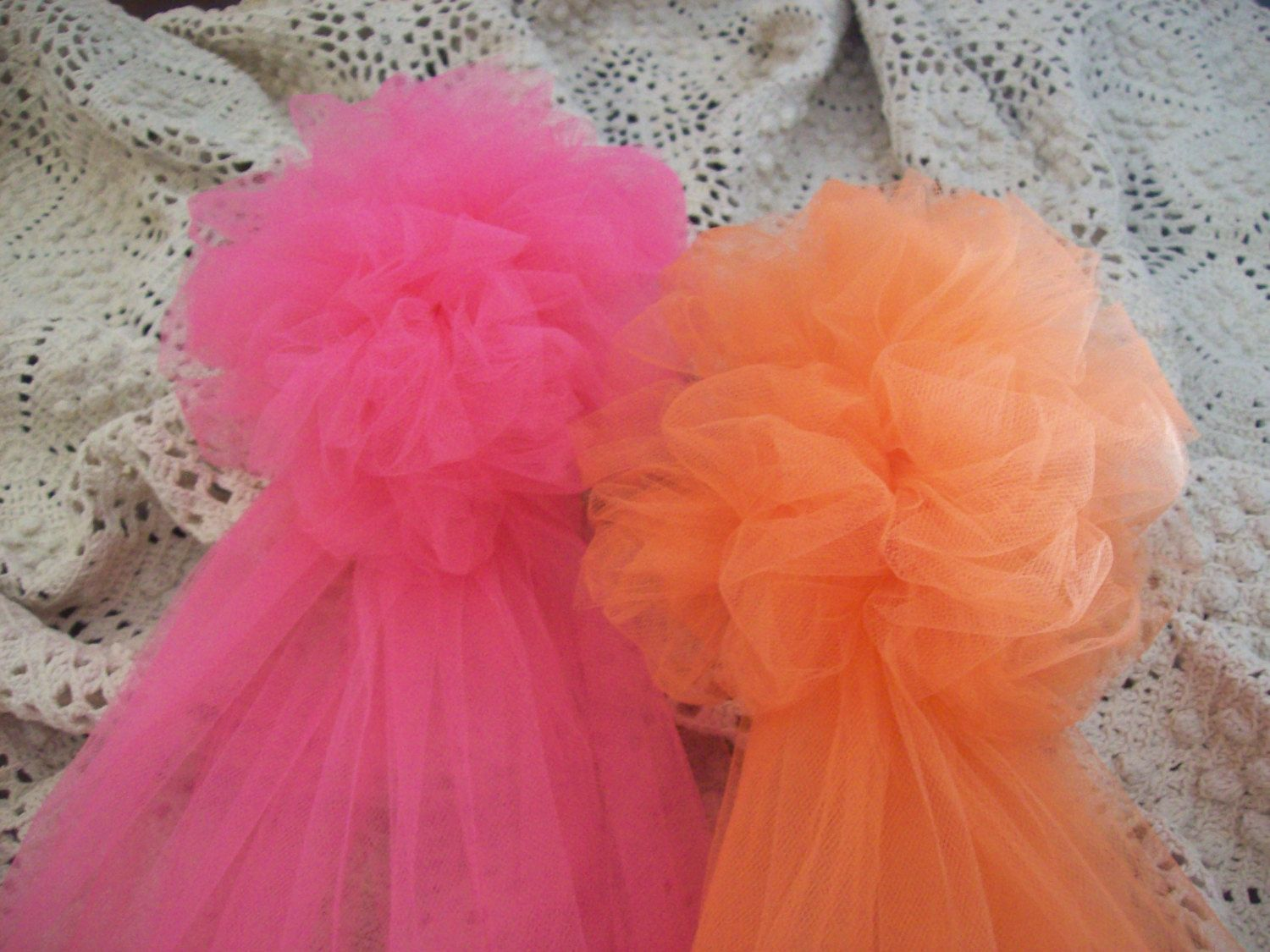 OVER 20 COLORS, Tulle Pom, Quinceanera, Pew Bows, Tulle Wedding Decor,  Chair Hangers, Aisle Decor, Church Decor, Baby/Wedding Showers