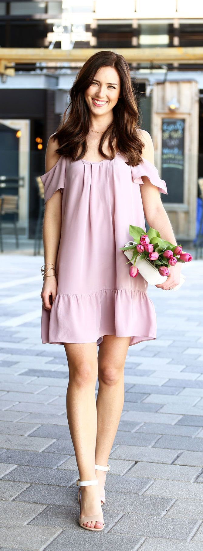Cold-shoulder and drop-waist dress for Spring