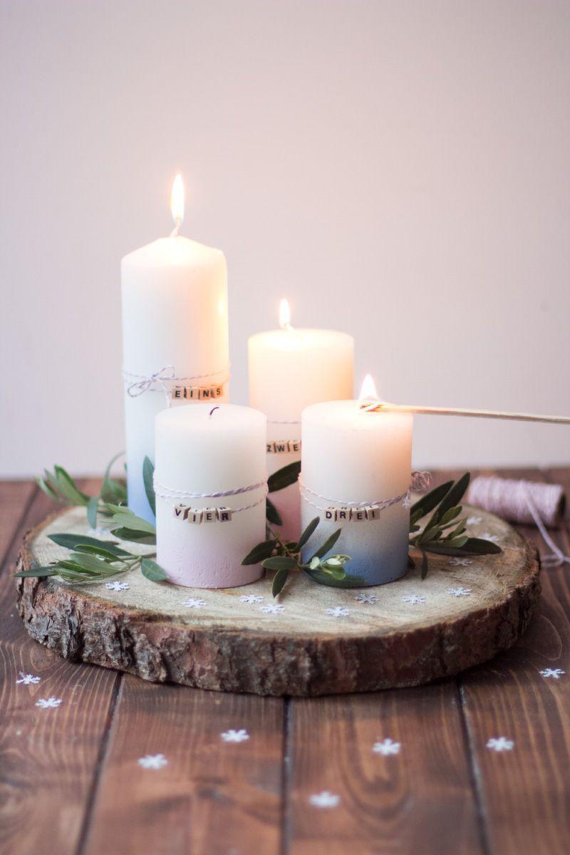 Baumscheiben-Adventskranz mit Buchstaben Perlen schlicht und skandinavisch #adve…