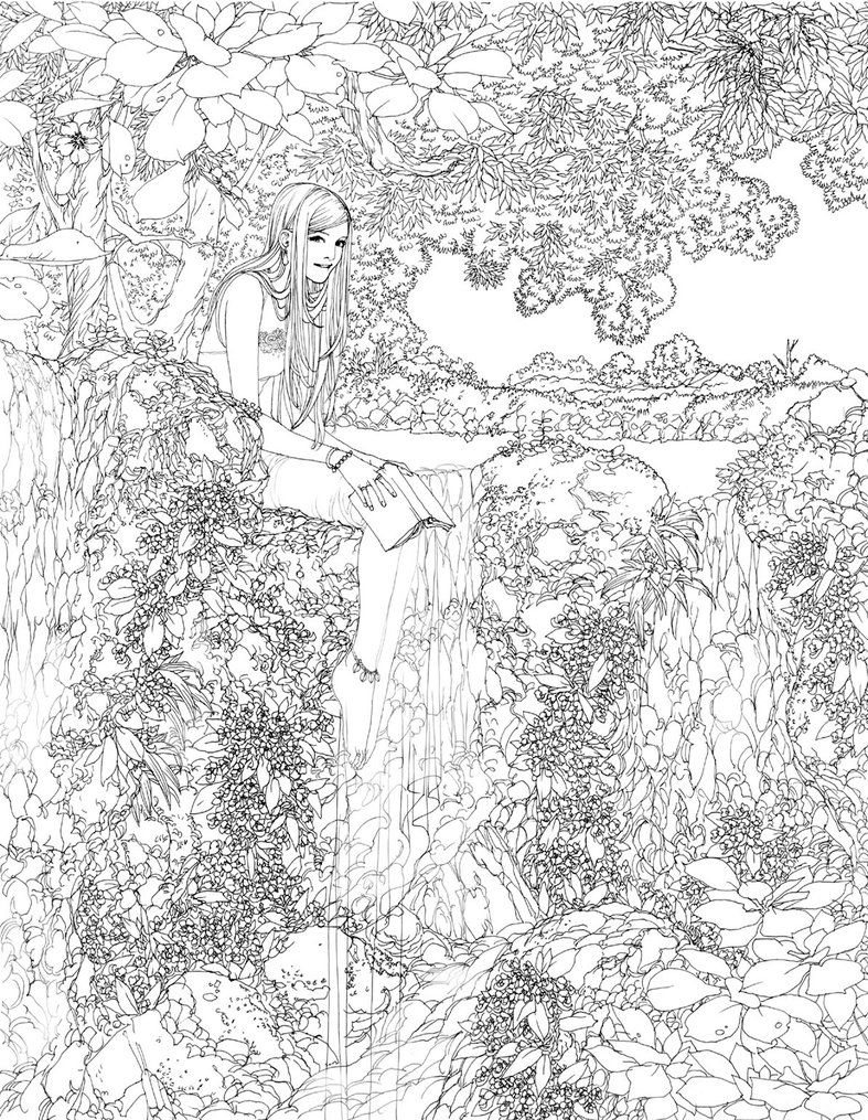 Waterfall Lineart By Wen M Coloring Pages Free Coloring Pages
