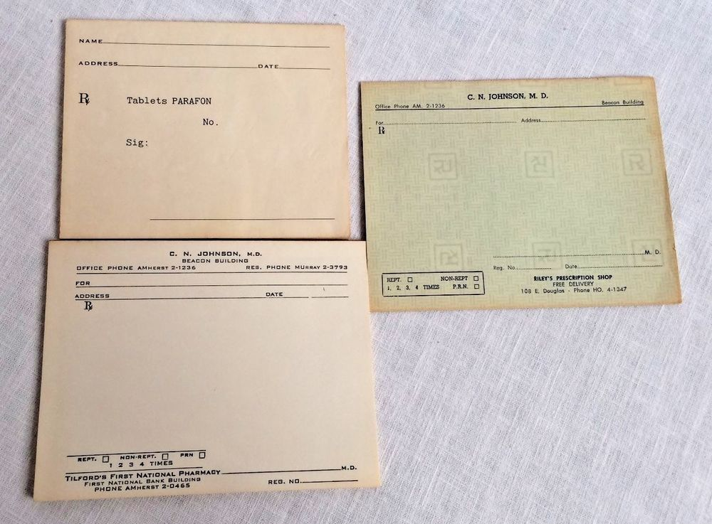 Antique DoctorS Prescription Pads Alpha Phone Numbers S