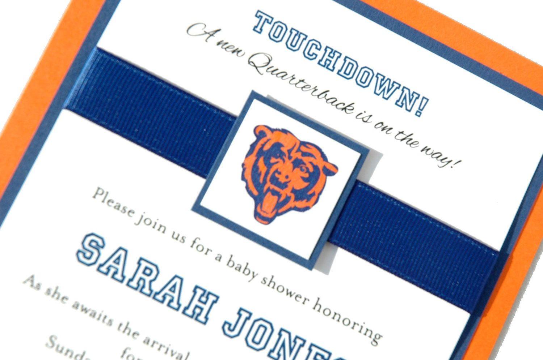 Custom Chicago Bears Football NFL Baby Shower Birth Announcement ...