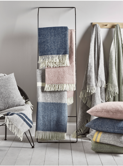 Soft Wool Throw Navy Blue Luxury Throw Blankets Soft Furnishings Cushions Wool Cushion