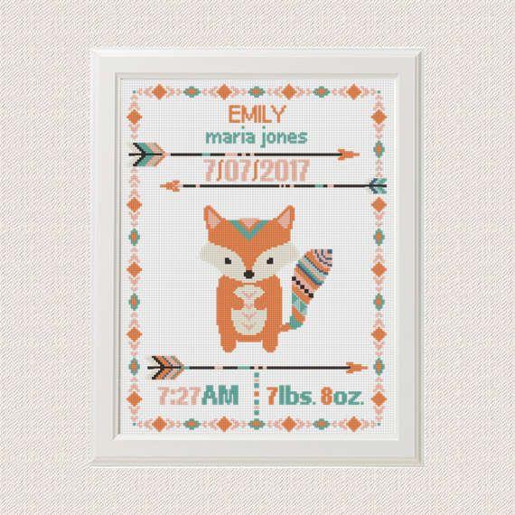 Cross stitch Birth announcement Fox cross stitch pattern baby ...