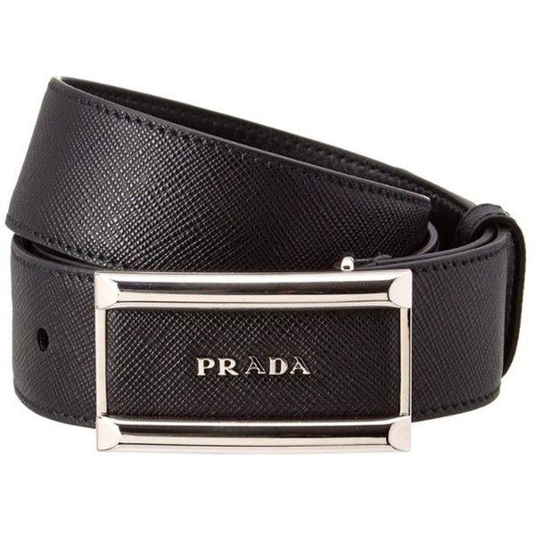 Prada Prada Plaque Buckle Saffiano Leather Belt ($340) ❤ liked on Polyvore featuring men's fashion, men's accessories, men's belts, black and prada mens belt