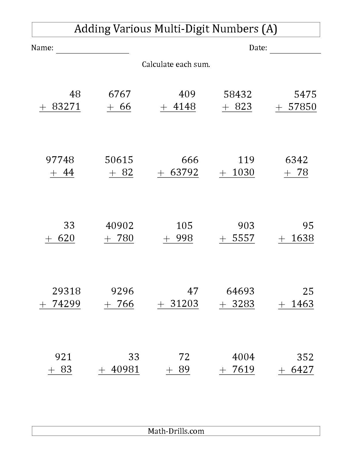 hight resolution of Fourth Grade Subtraction And Addition Worksheet   Printable Worksheets and  Activities for Teachers