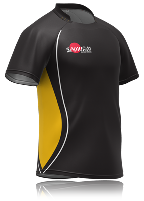 Black And Yellow Samurai Rugby Shirt Design Get Is Customised For
