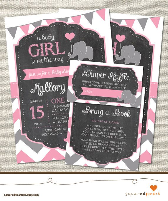 elephant baby shower invitation with diaper raffle ticket