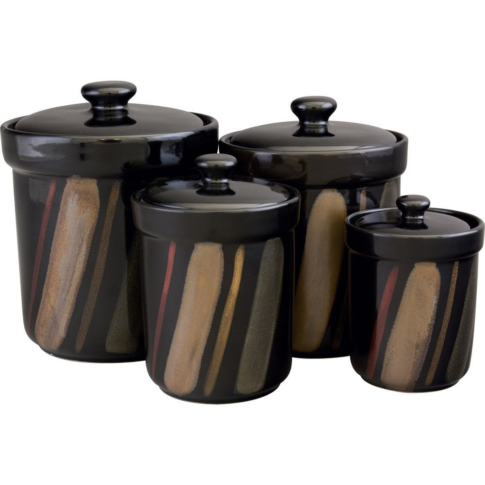Black Stonware Country Store Canister Set 4 Piece Kitchen Counter Dry Storage Kitchen Canister Sets Kitchen Canisters Canister Sets