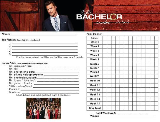 photograph about Printable Bachelor Bracket identify the bachelor bracket: chris soules - myth bachelor