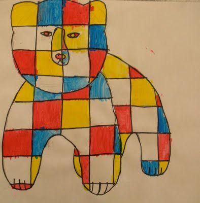 The Small Art Teacher Blog: Mondrian Bears & Horses (4th, 3rd, 2nd Grades)