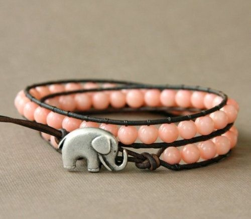 Pink wrap. Bracelet with elephant
