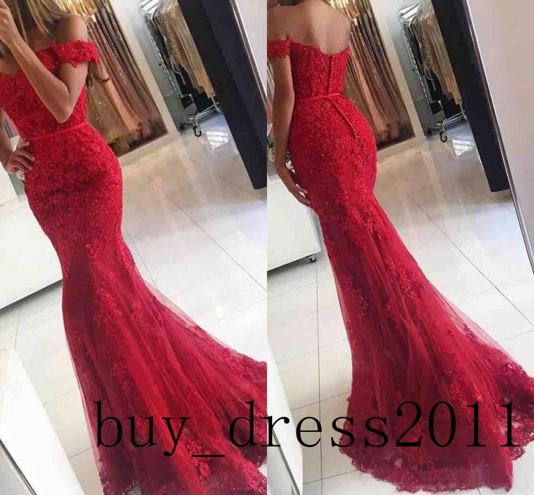 Appliques mermaid prom dress off shoulder long evening formal party