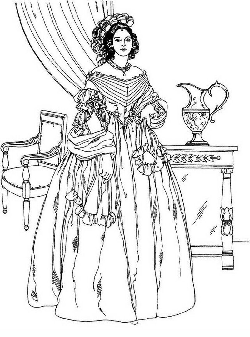 Noble Victorian Woman Advanced Grown Ups Coloring Pages