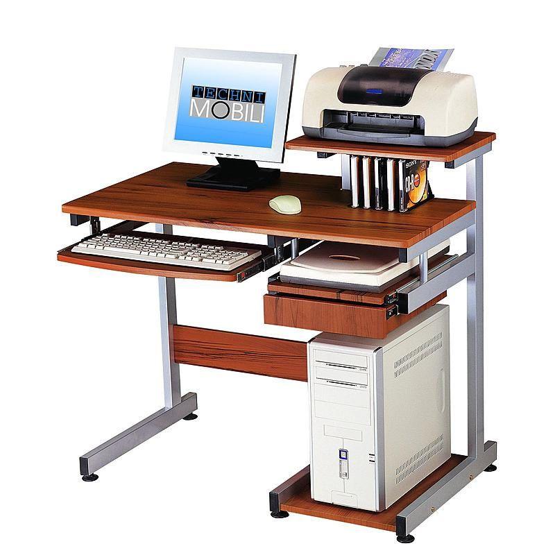 Computer Desk Pc Workstation Furniture Keyboard Cpu Shelf Drawer Media Holder Technimobili