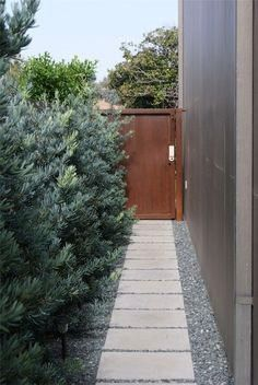 of the garage to the gate Z Freedman Landscape Design Venice CA side of the garage to the gate Z Freedman Landscape Design Venice CA Walkway in outdoor courtyard of moder...
