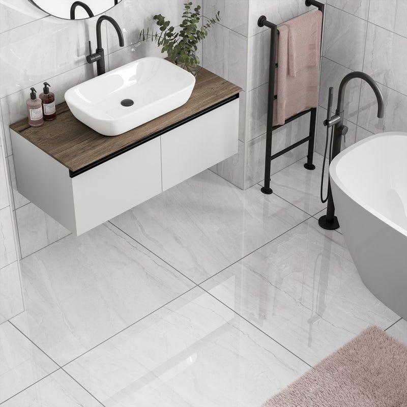 Comet Light Grey Marble Effect Gloss Wall And Floor Tile 300mm X 600mm In 2020 Small Bathroom Tiles Light Grey Bathrooms Tile Floor