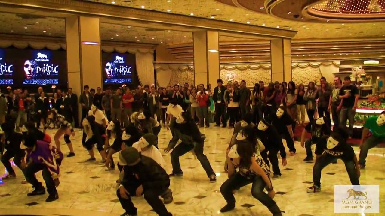 Flash mob from the jabbawockeez at mgm grand las vegas
