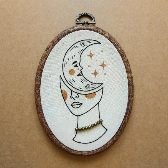 PDF pattern - Crescent Moon Girl Hand Embroidery Pattern (PDF pattern - modern embroidery pattern)