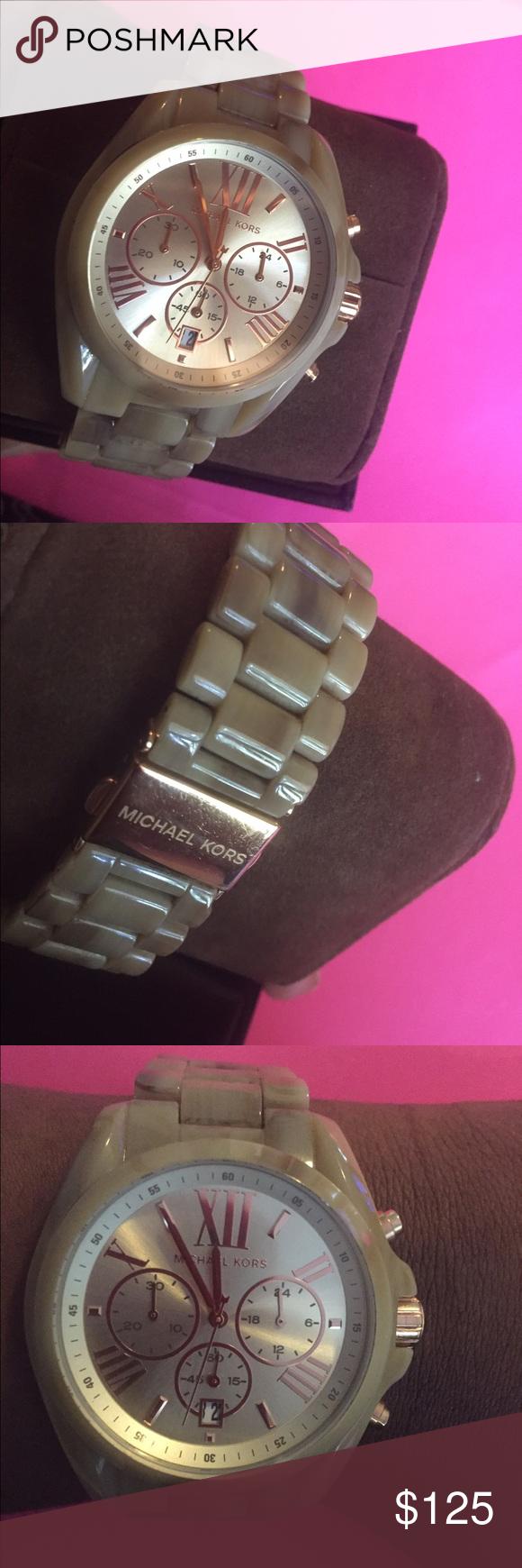Michael Kors horn watch Horn detail chronograph watch. It needs a new battery. Michael Kors Accessories Watches