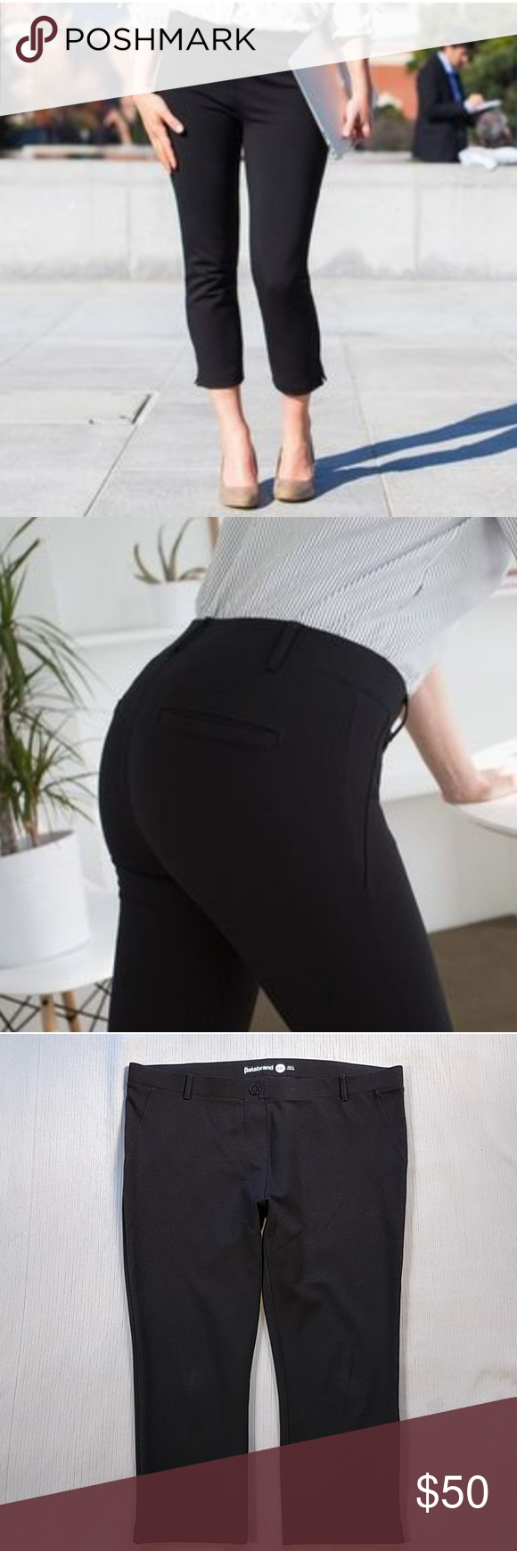 82a239c959a01 Betabrand Crop Dress Pants Yoga Pants Black XXL Betabrand Crop Dress Pants  Yoga Pants Black.