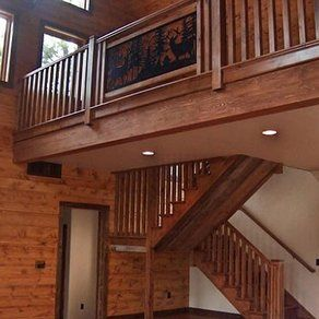Best Rustic Free Standing Alder Staircase And Railing By Rocky 640 x 480