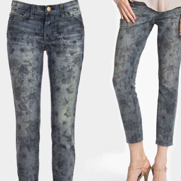 Current Elliot distressed floral jeans Excellent spring forward spring floral denim jeans Current/Elliott Jeans Skinny
