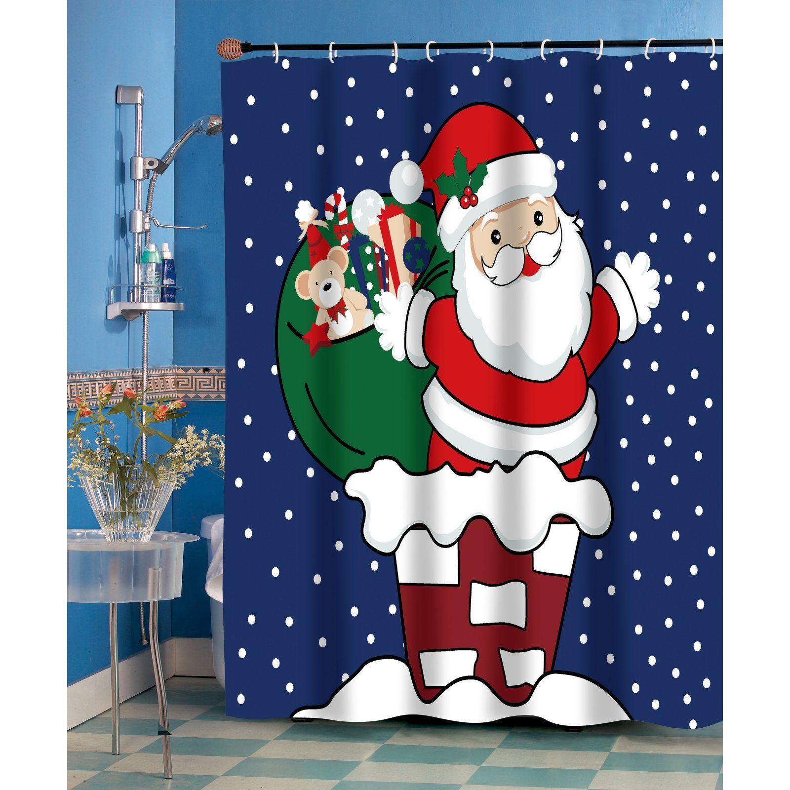 XMAS SANTA CLAUS FABRIC SHOWER CURTAIN Red Christmas bath