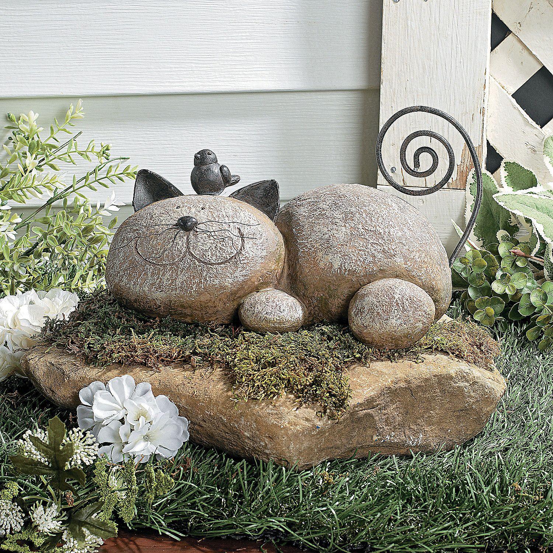 Chat en résine imitation pierre, oreilles et queue en fer ...