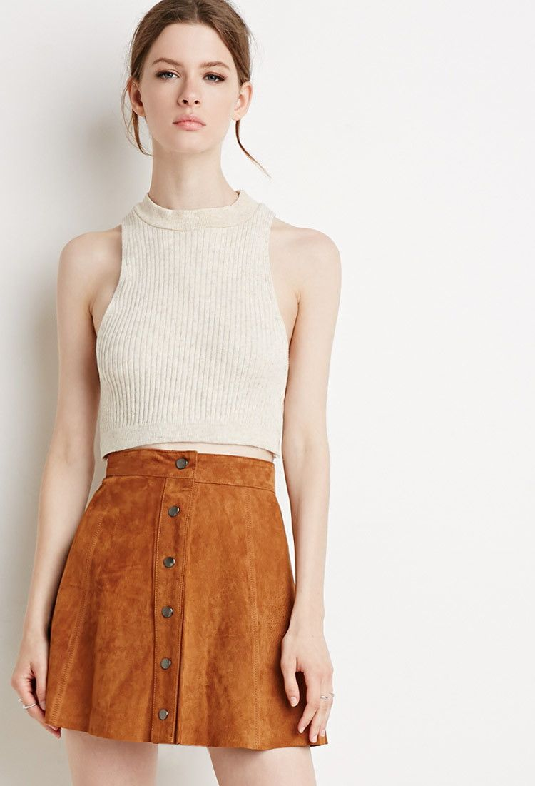 Buttoned Suede Skirt | Forever 21 - 2000116977 | Back To School ...