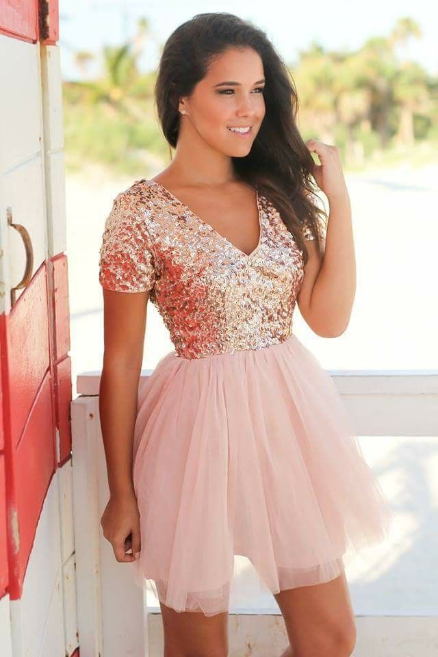 32774b93d95c Rose Gold Sequin Top · New Years Outfit · Gold Dress, Tulle Dress, Cute Short  Dresses, Quinceanera Dresses, Homecoming Dresses,