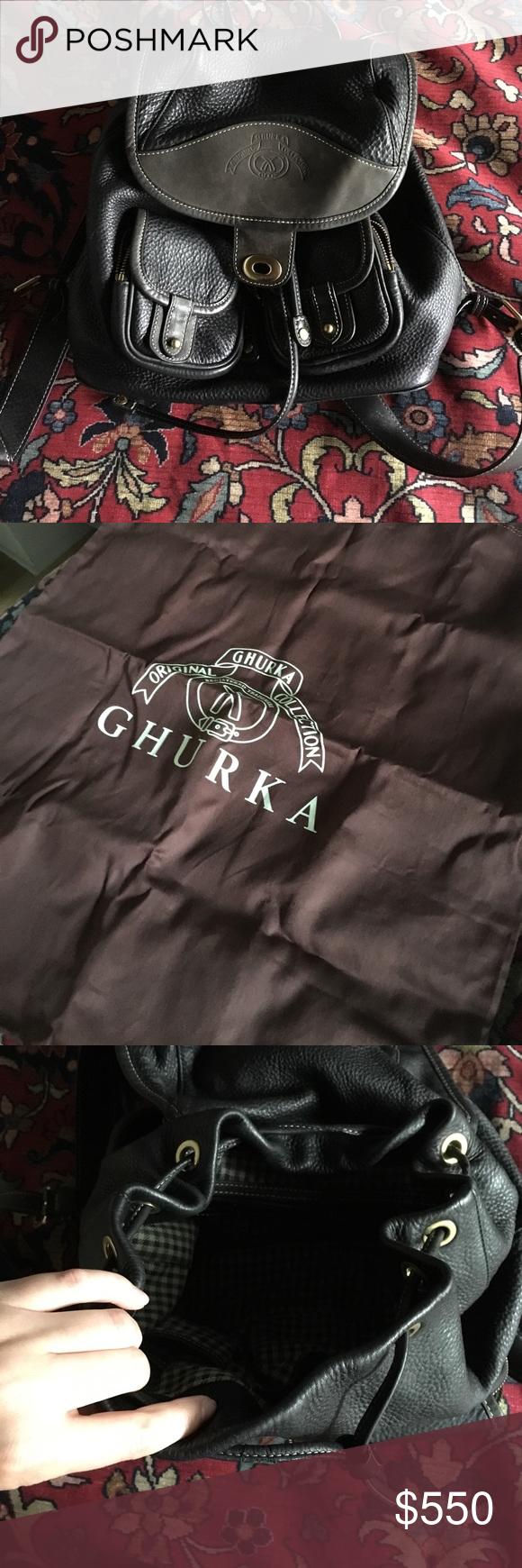 Authentic GHURKA leather backpack Gorgeous black leather ghurka backpack. Drawstring closure. Zip pocket on the inside. Comes with dust bag Ghurka Bags Backpacks
