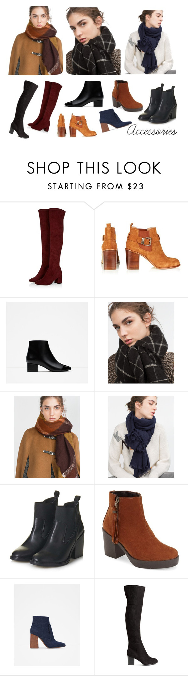 """""""Winter Boots and scarves"""" by leblogderosy on Polyvore featuring Zara and Topshop"""