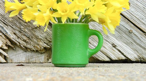 Lime green Glass Bake coffee mug makes a lovely by proudpixies