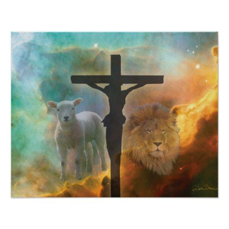 Jesus Christ the Lion and the Lamb Poster #easter #posters