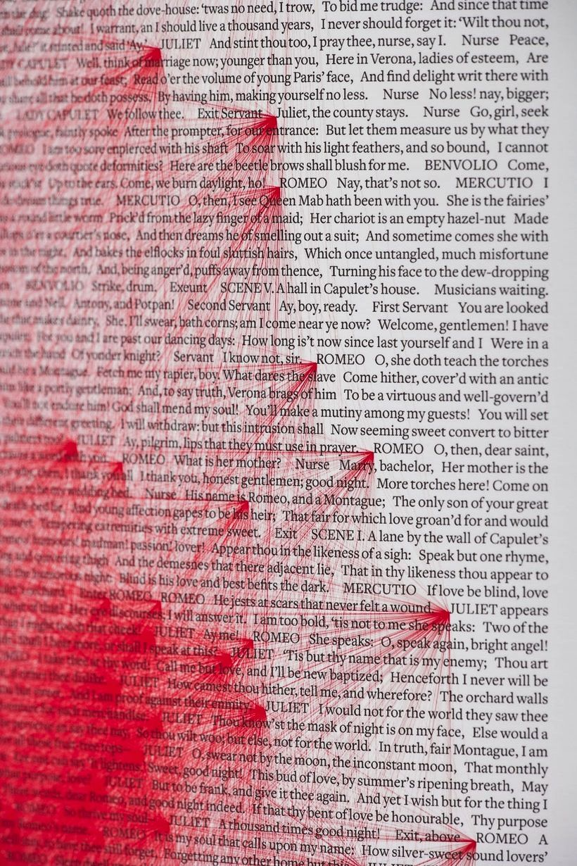 in william shakespeare s romeo and juliet the word juliet   the word juliet appears 180 times and the word romeo another 308 times beetroot design group created a poster to bring these star crossed lovers