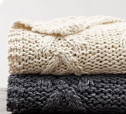 Cozy Sherpa Back Cable Knit Throws Knitted Throws Cable