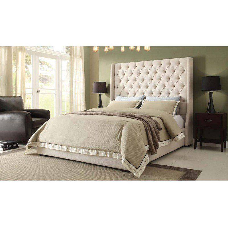 Park Avenue Eastern King Tufted Bed With Vintage Wing In Desert