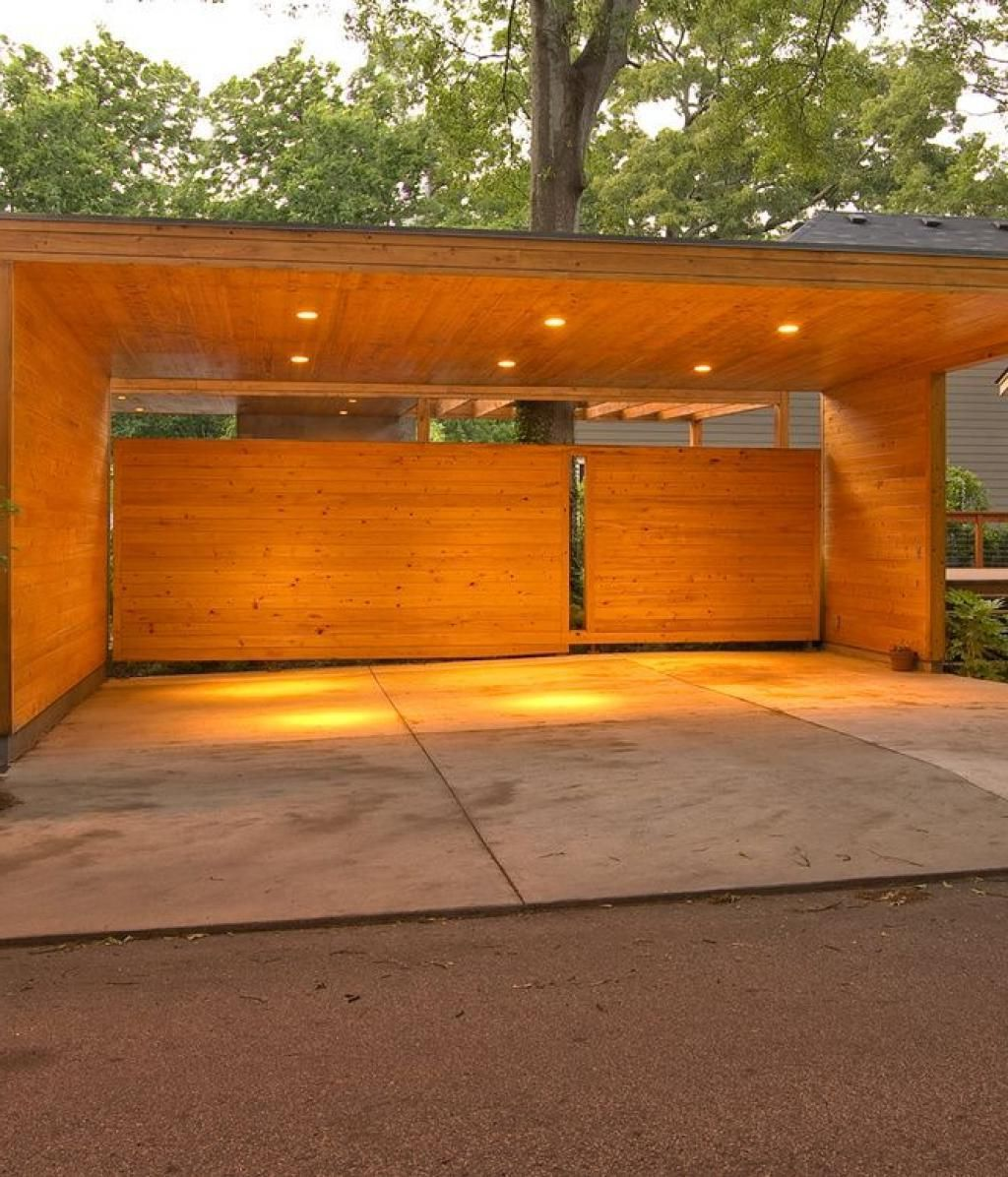 Impresive Design Carport Area With Wooden Design Material With Warm Lighting Carport What To Consider When Choosing Carp Modern Carport Carport Designs Carport