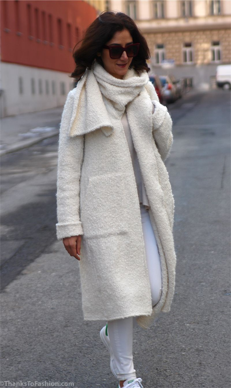 Chunky #long #cardigan #offwhite #white #cream #winter #outfit ...