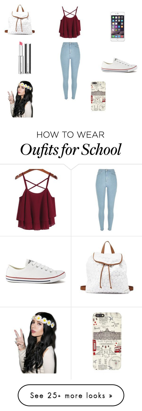 """""""Back to school"""" by holli-101 on Polyvore featuring River Island, Converse, Char..."""