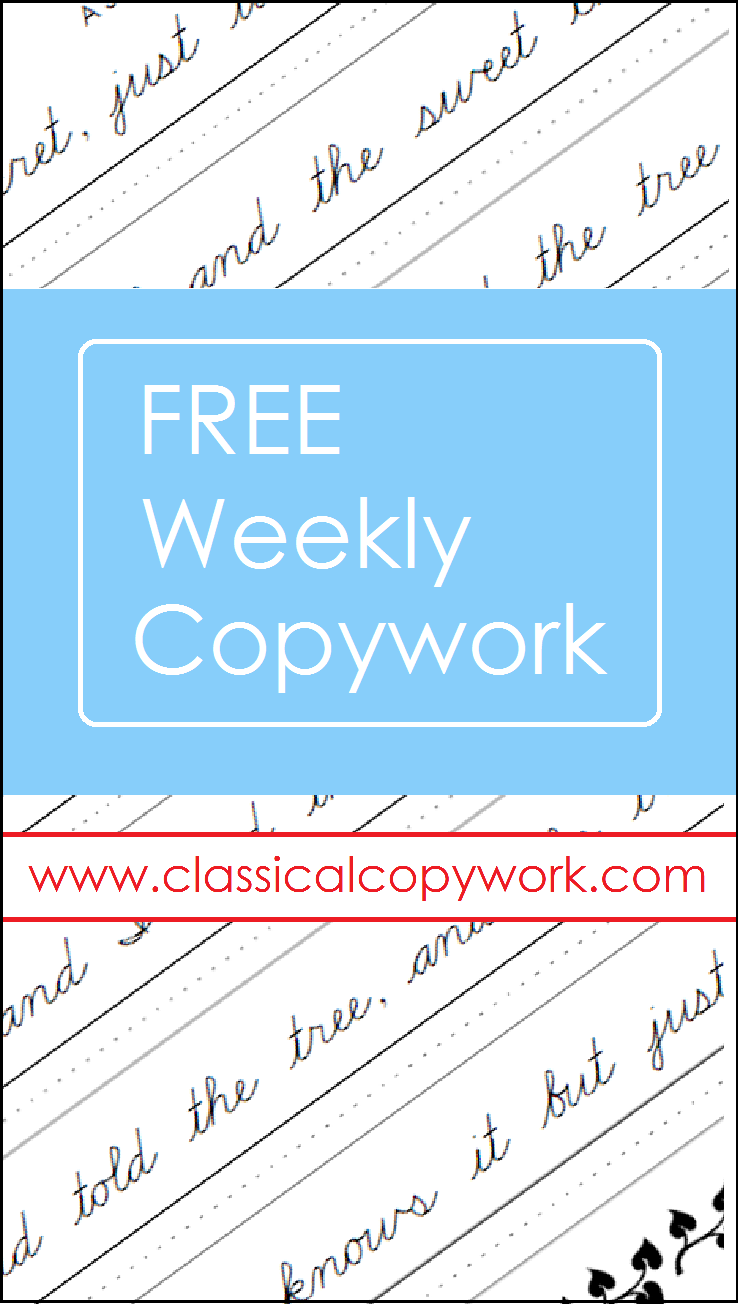 Get a page of copywork sent to you inbox each week...for FREE ...