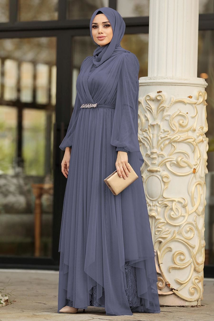 Tesetturlu Abiye Elbise Tullu Indigo Mavisi Tesettur Abiye Elbise 39480im Tesetturisland Com Elbise Islami Giyim Elbise Ayakkabi