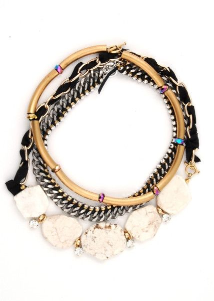 Olivia necklace layered with Venza and Alan necklaces by Lauren Elan.