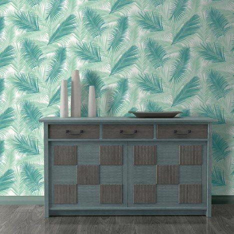 papier peint intissé feuille de palme vert | leroy merlin