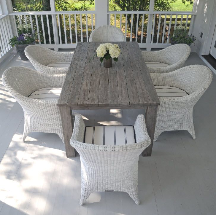 Kingsley Bate Valhalla Collection Reclaimed Teak Table With Grey Wash Finish And White Cape