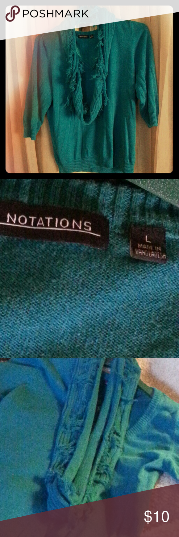 Greenish blue short sleeve sweater with scarf Beautiful color ...